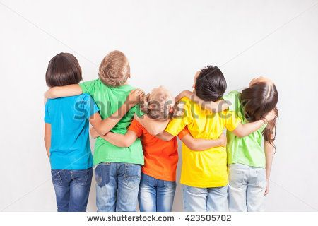 Group of multiracial funny children Kids looking up at copy space - copy children's abc coloring pages