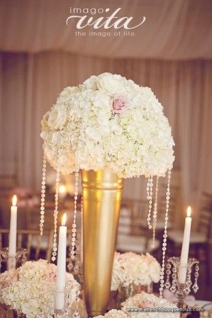 Tall Gold Vase Centerpiece With Draping Crystals The French