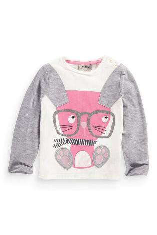 Buy Grey And Ecru Bunny T-Shirt (3mths-6yrs) from the Next UK online shop