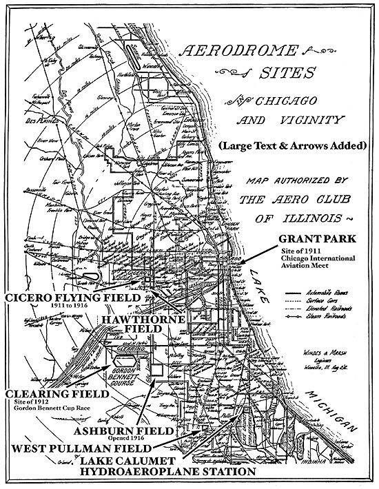Map Showing Old Chicago Area Airfields Chicago Pinterest