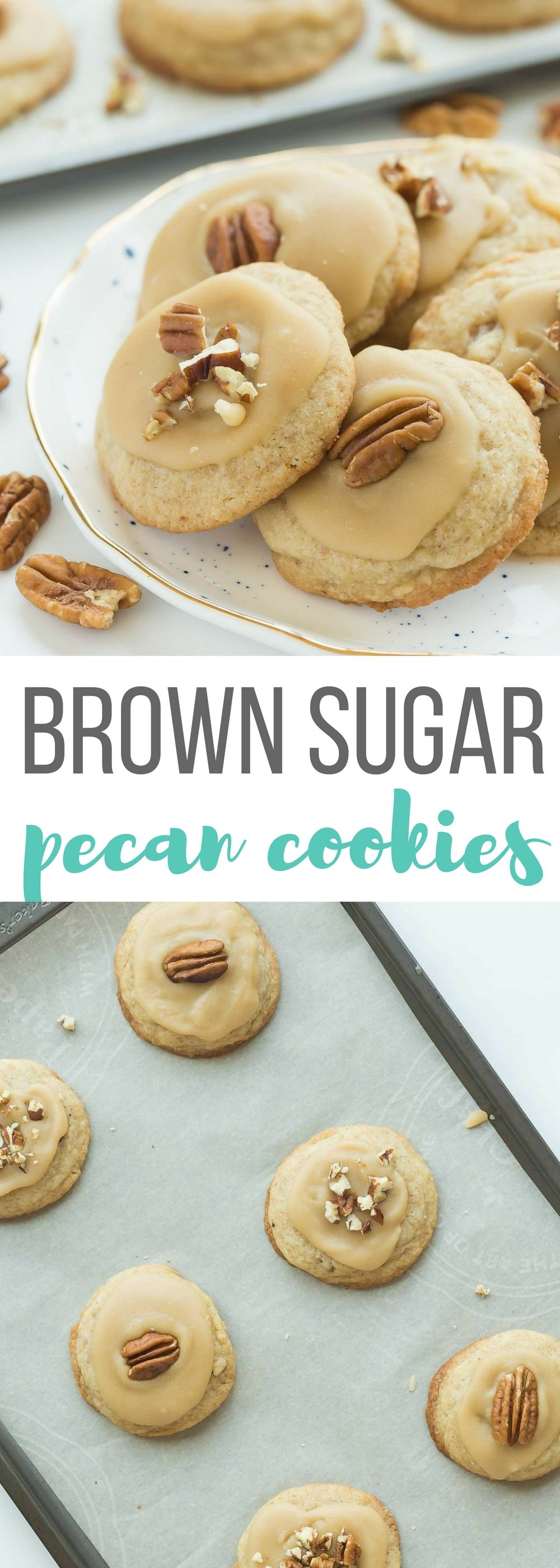 These Brown Sugar Pecan Cookies are soft, buttery, brown sugar cookies topped with brown sugar frosting and more pecans -- perfect for Christmas baking or any day of the year! Includes step by step recipe video   sugar cookies   soft cookies   Christmas cookies   fall baking   cookie exchange   #Christmascookies #Christmasbaking #sugarcookies