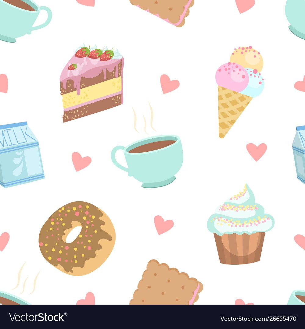 Cute Desserts Seamless Pattern Cake Cupcake Donut Cookie Ice Cream Cup Of Coffee Design Element Can Be Used F Cupcake Vector Cute Desserts Patterned Cake Wallpaper hand cup ice cream dessert