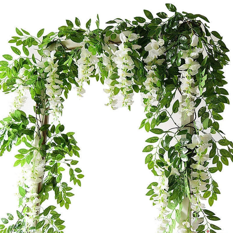 Artificial Wisteria Vine Garland Plants Artificial Flowers Flowering Vines Fake Flowers