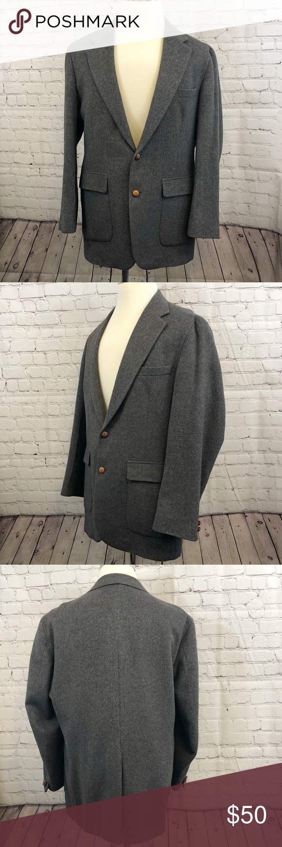 Gray Men's 2Button Sports Coat with Single Vent Sport