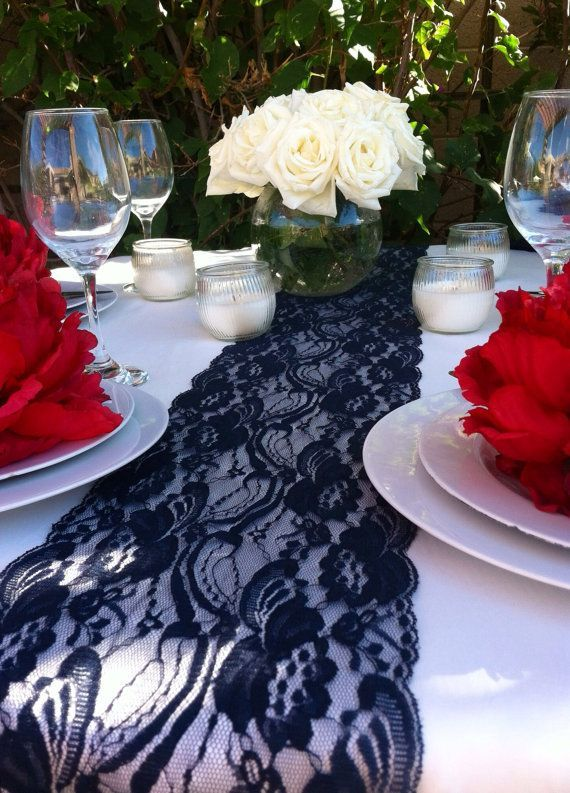 Lace Table Runner, Navy Blue, Wide X Long, Navy Wedding Decor