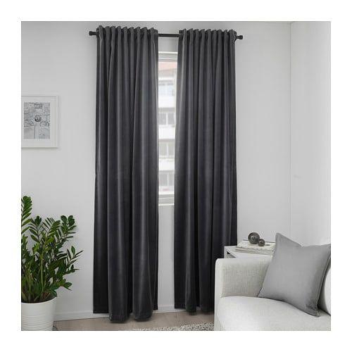 Sanela Dark Grey Room Darkening Curtains 1 Pair 140x250 Cm Ikea In 2021 Red Curtains Living Room Dark Curtains Red Velvet Curtains