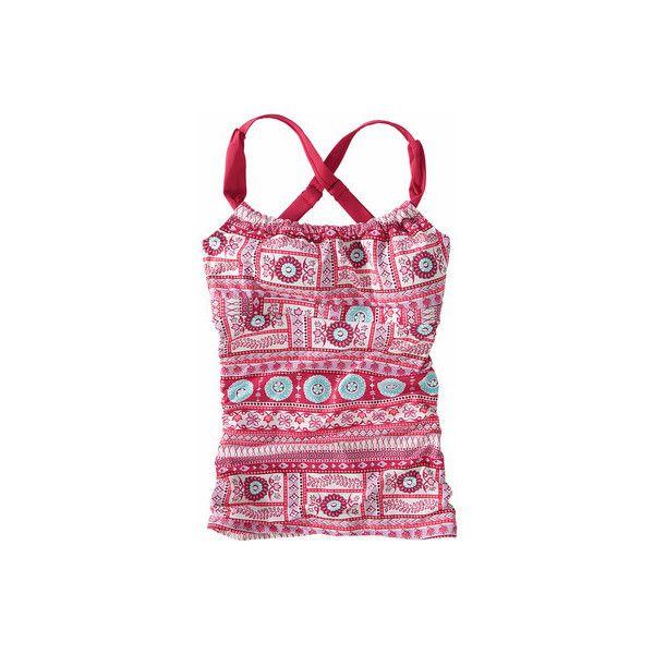 Title Nine  Coveted Tankini - Parisio Print ($69) ❤ liked on Polyvore featuring swimwear, bikinis, bikini tops, pink, tankini swimwear, pink bikini, halter neck bikini, halter tankini and halter swim top