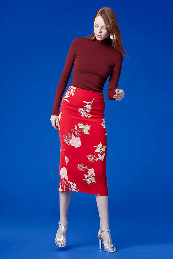0bae07dea8a This pencil skirt is adorable! Love the color!  pencilskirt  skirt   floralskirt  redskirt  ad