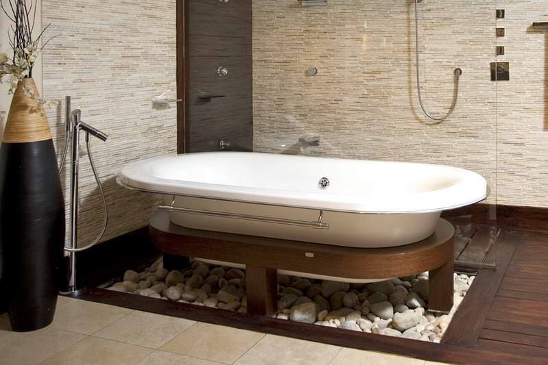 Bathtub Tile Ideas With Decorative Leaves