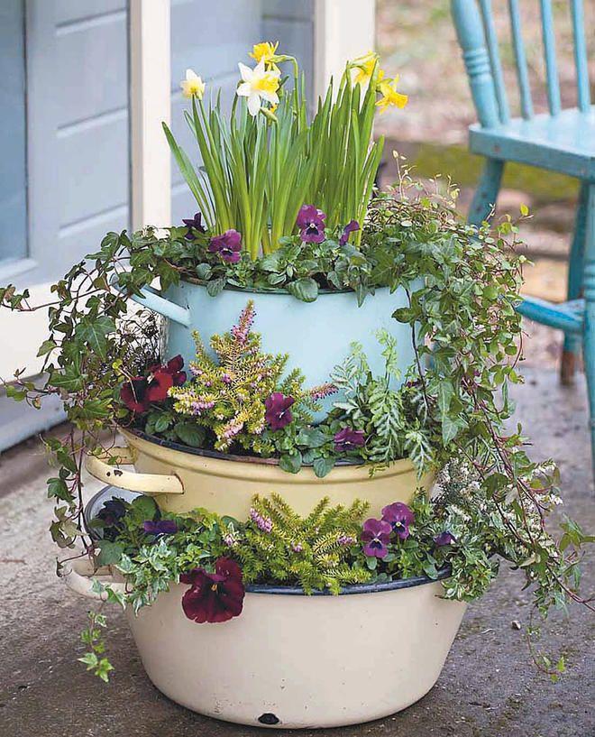 Upcycling-Idee für Blumenampel #gartenupcycling