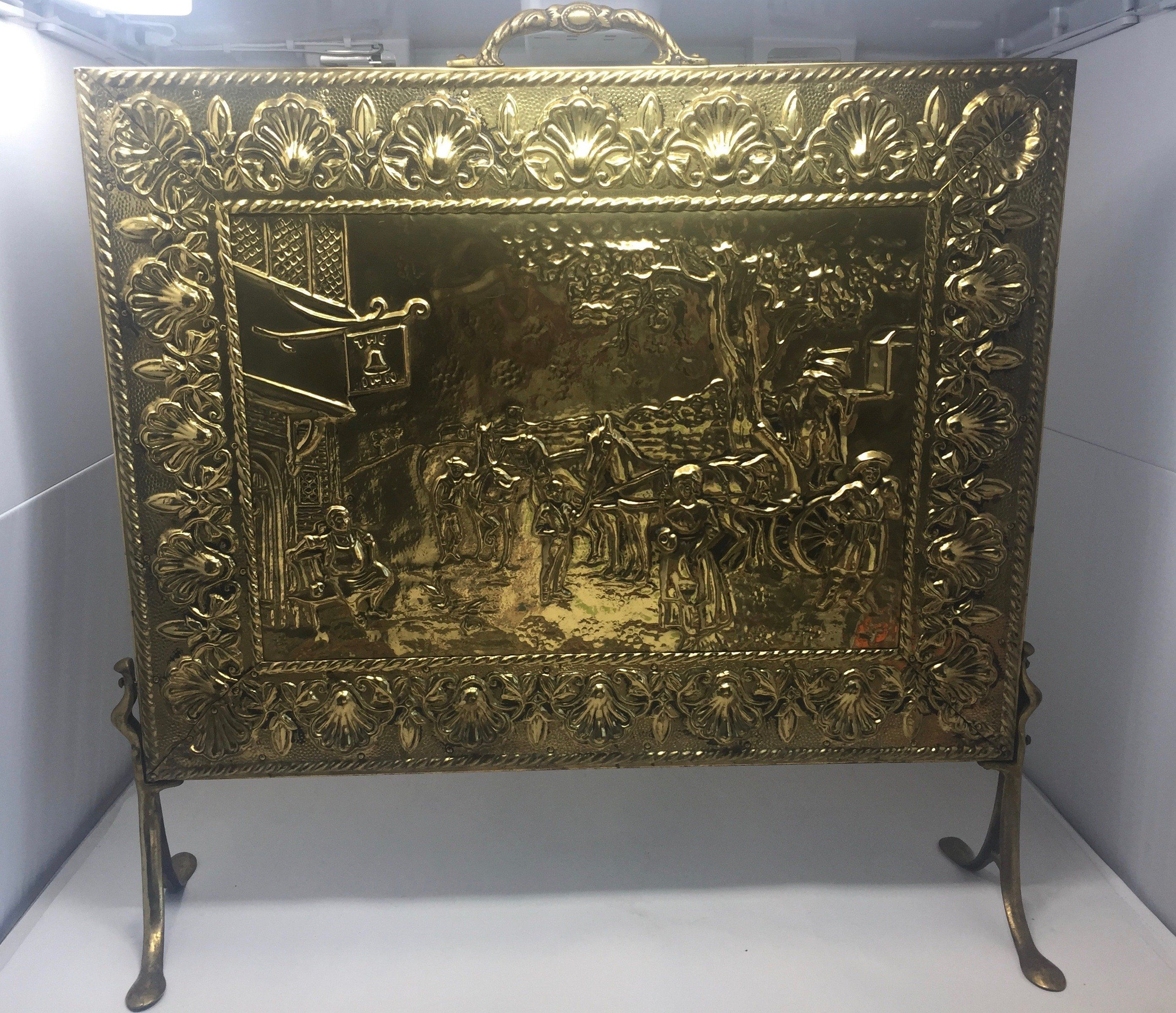 Brass Repousse Embossed Antique Fireplace Screen Handcrafted