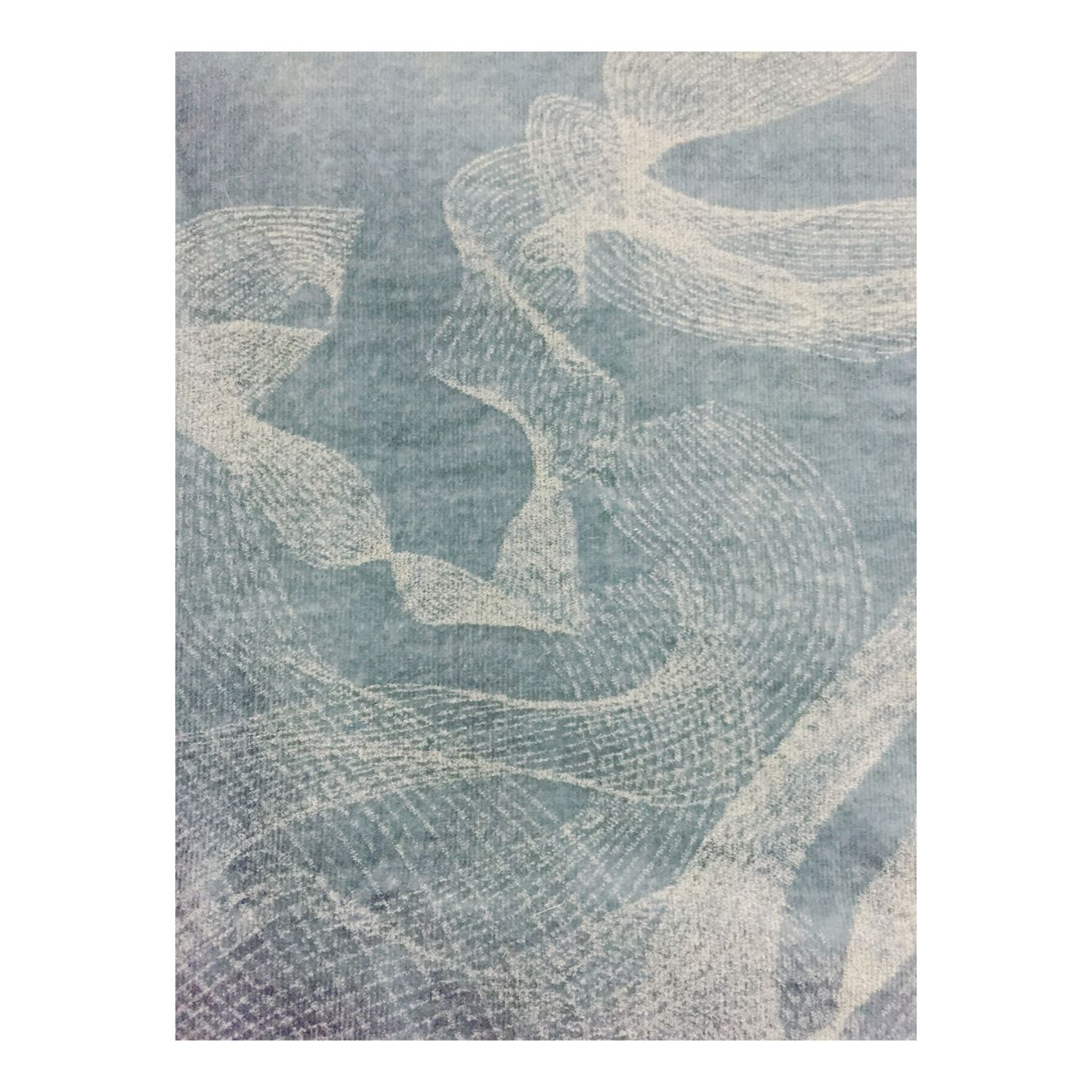 Etched stitch line detailing onto crushed velvet explores the effect of linear movement upon the fabrics surface; dependent on the direction of light.