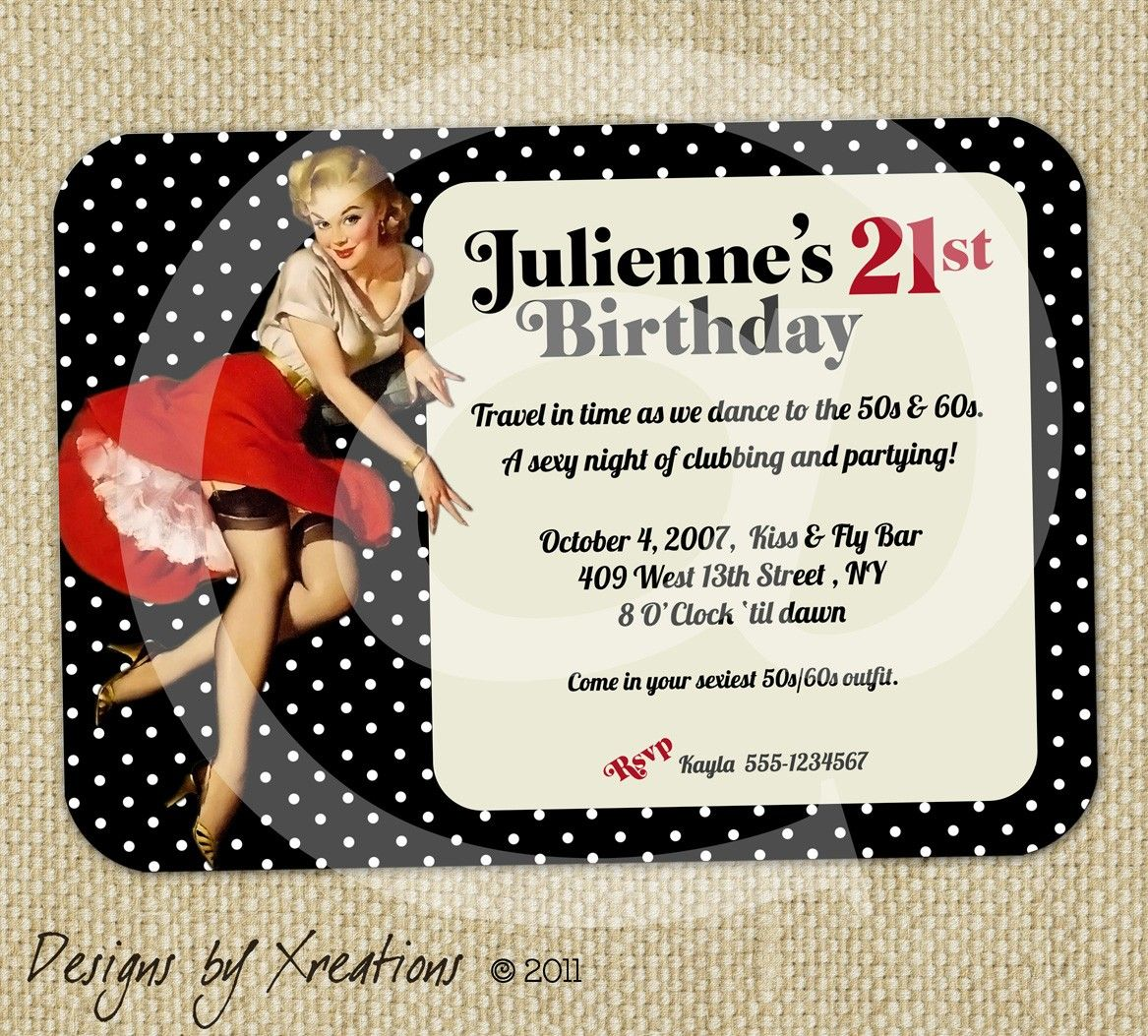 retro swimsuit pin up girl bachelorette party custom invite – Customizable Bachelorette Party Invitations