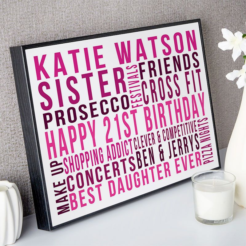 Personalised 21st Birthday Gift Ideas For Her Box Frame Beautiful Word Art