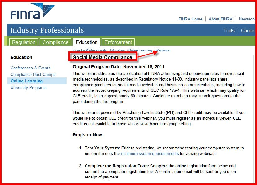 Social Media Policy Education Directly From Finra Link To Check