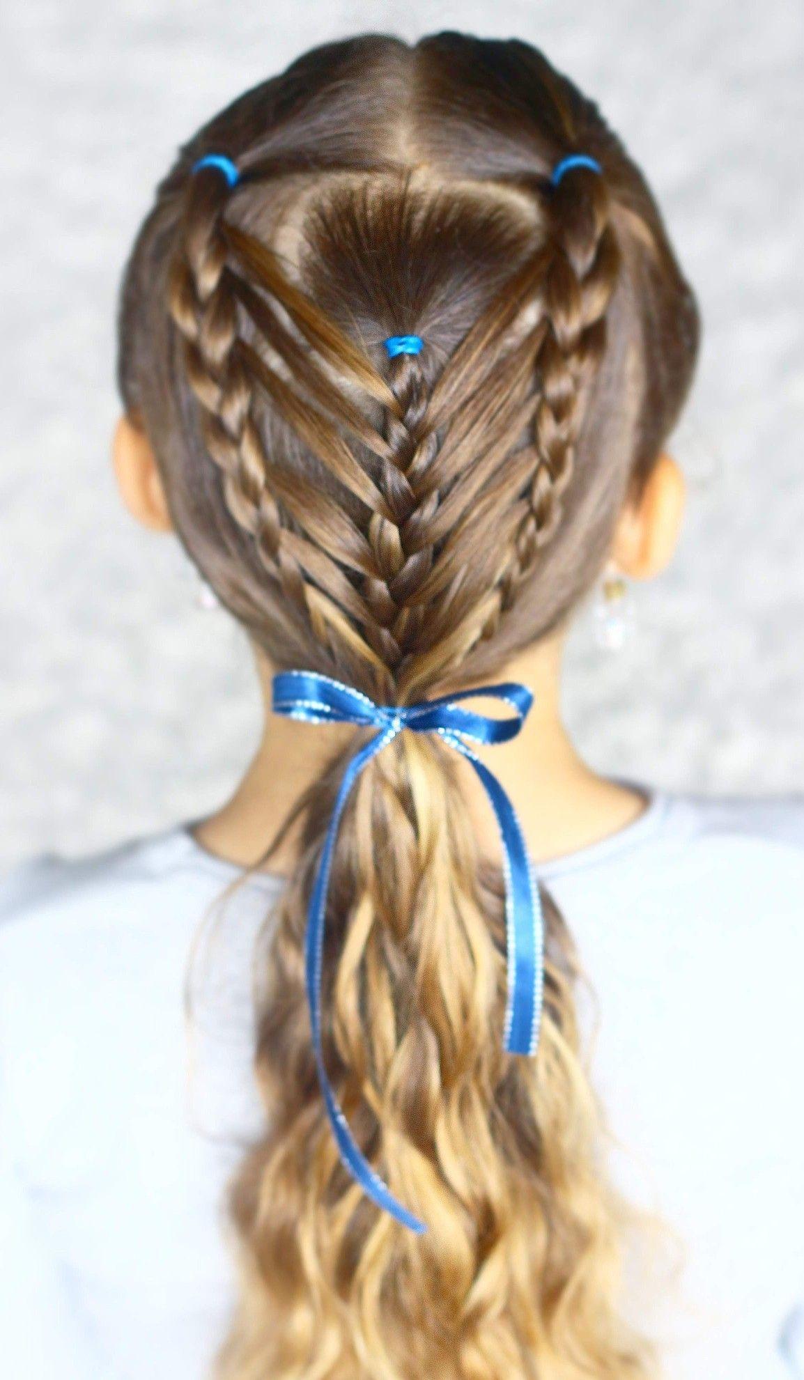 Cute girls hairstyle kids hair braids school hair arrow braid