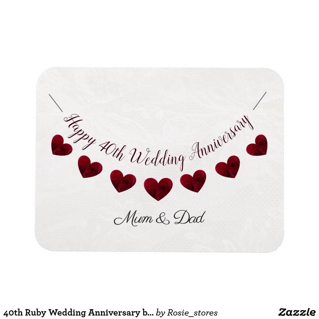 40th Ruby Wedding Anniversary Bunting Mum Dad Magnet Zazzle Co