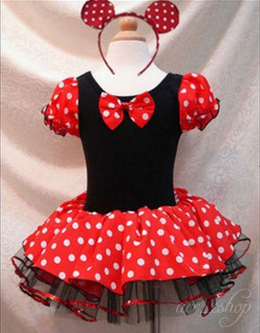 Minnie Mouse Kids Girls Ballet Dress Clothes Party Fancy Tutu Dress Up Costume