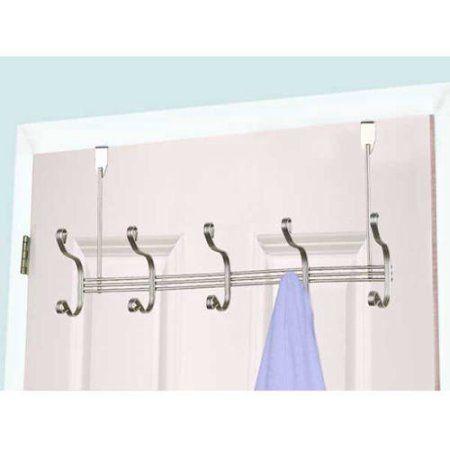 Home Basics Dh01774 5 Hook Over The Door Hanging Rack Size 5 Inch Wall Mounted Coat Rack Hanging Racks Door Rack