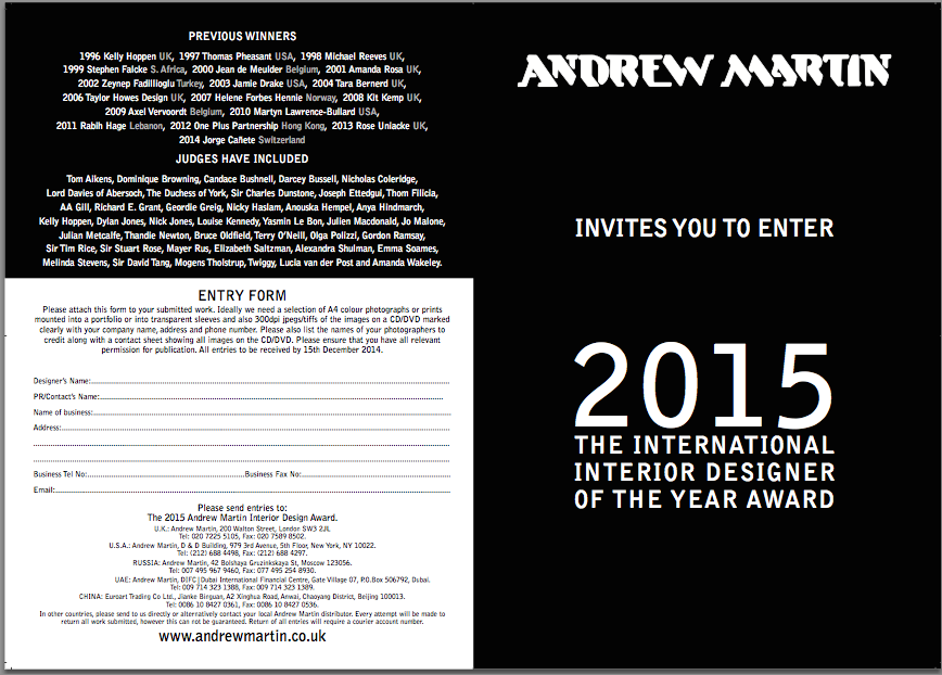 Andrew Martin International Interior Designer Of The Year Award 2015 Enter Now To WIN