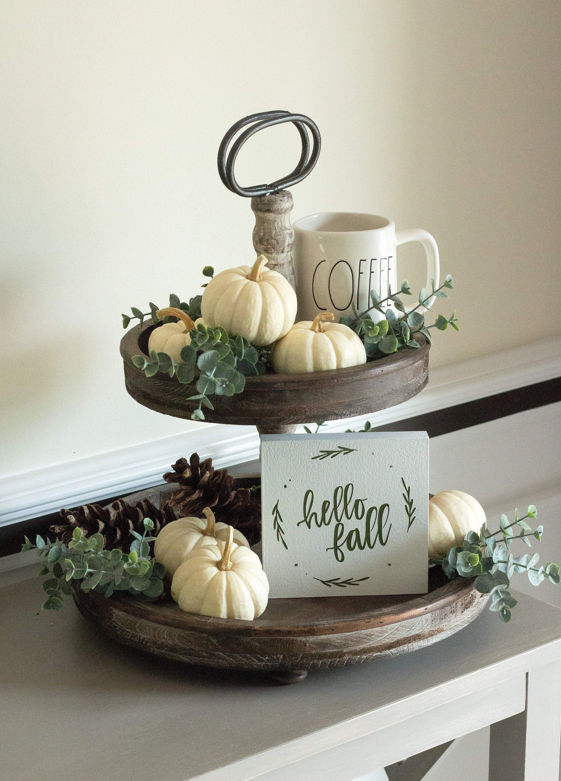 Fall Home Decor-Autumn Gifts -Tiered Tray Sign-Hello Fall Wreath Sign-Fall Decor-Farmhouse Decor-Housewarming Gift-Thanksgiving Decor