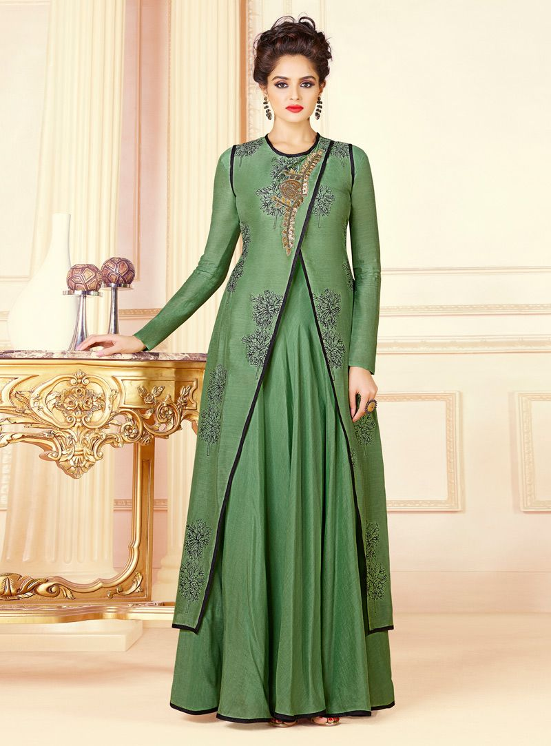 ed62854c9d Buy Green Cotton Designer Gown 136680 online at lowest price from our mens indo  western collection at m.indianclothstore.c.