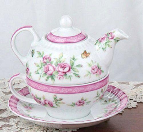 Victorian Shabby Chic Pink Flower Teapot Cup Tea Pots Tea Tea