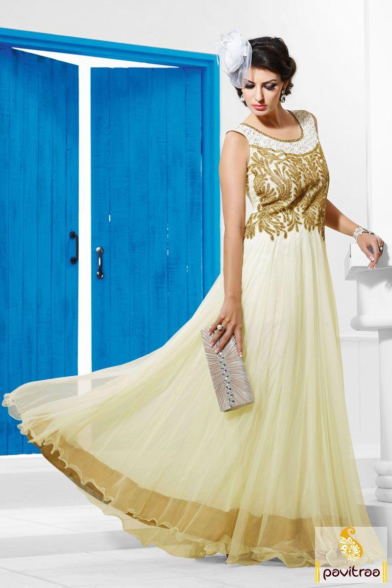Off white party wear Anarkali Salwar Suit is in santoon fabrics. The ...
