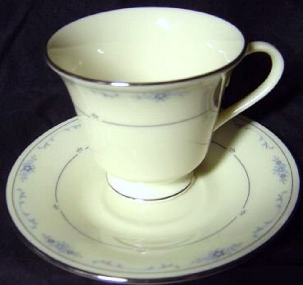 Vintage Lenox Fine China Cup Saucer Pattern Carolina Blue Flowers Private Stock