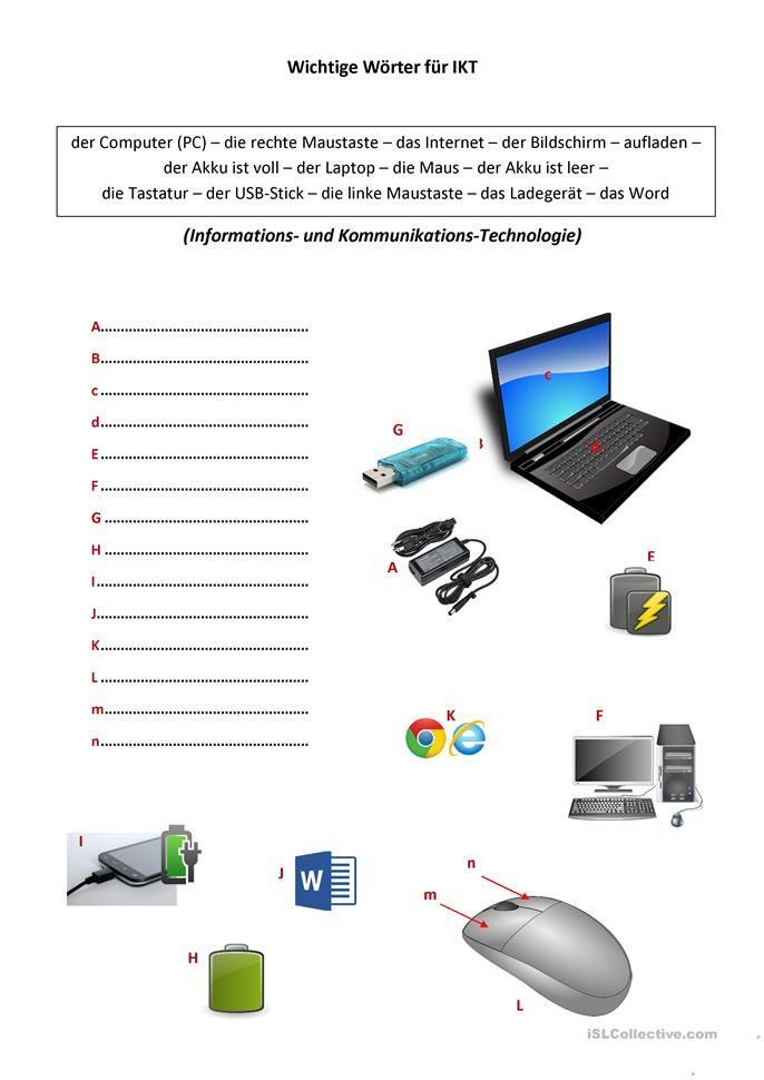 Wichtige Worter Rund Um Den Computer Deutsch Daf Arbeitsblatter Daf Lehrer Der Computer Computer
