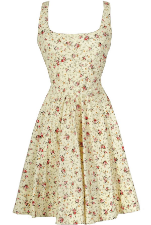 Shabby Chic Floral Fit and Flare Cotton Sundress in Ivory  www.lilyboutique.com