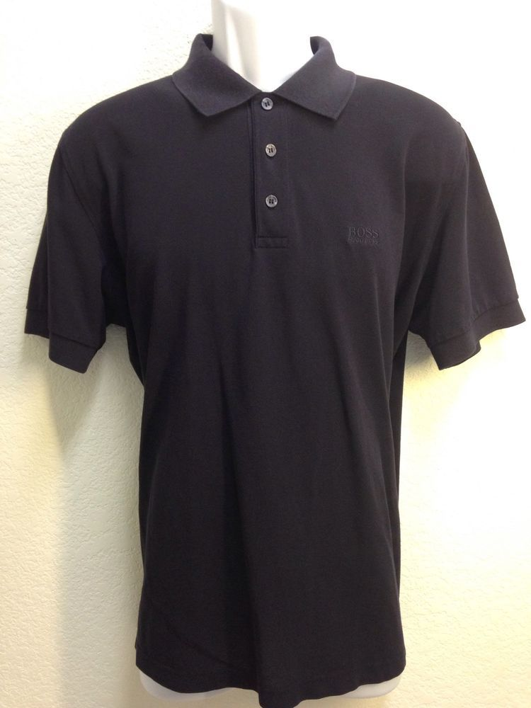 Hugo Boss Men's Black Solid 100% Pima Cotton Short Sleeve Polo Shirt Large # HugoBoss