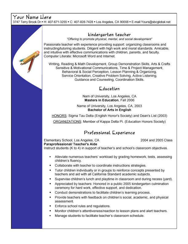 Resume sample - Kindergarten Teacher Teacher resumes Pinterest - examples of teacher resume