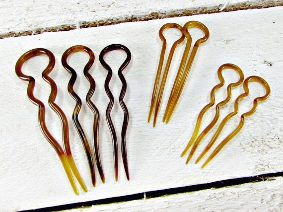 Vintage Celluloid Plastic Hair Pin Set Small Dark Cherry Red Pins Forks Bun Chignon 1940s Wwii Sweetheart Accessory
