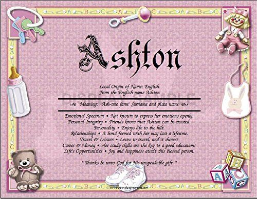 New Baby Girl Personalized ANY First Name Meaning Keepsake ...