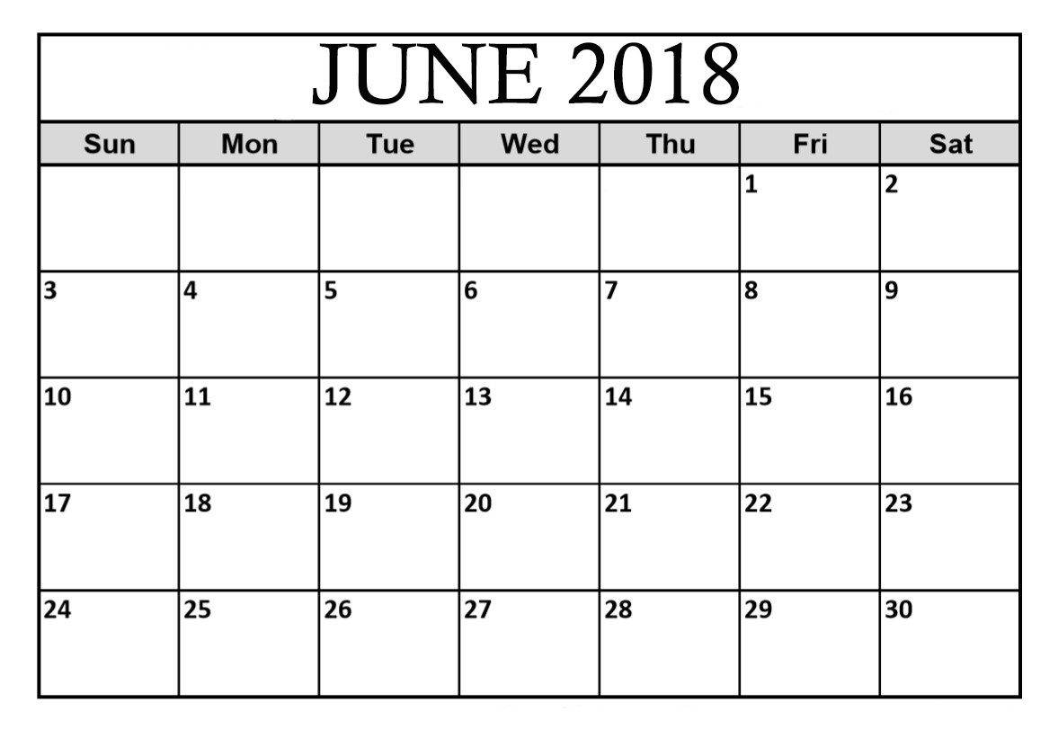 Free Download Printable Calendar June 2018 Calendar Printables