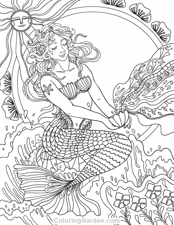 Free printable Art Nouveau mermaid adult coloring page. Download it ...