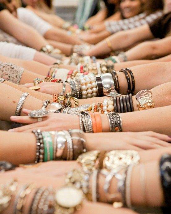 A world of wrap bracelets & silver bangles & leather twists for summer.