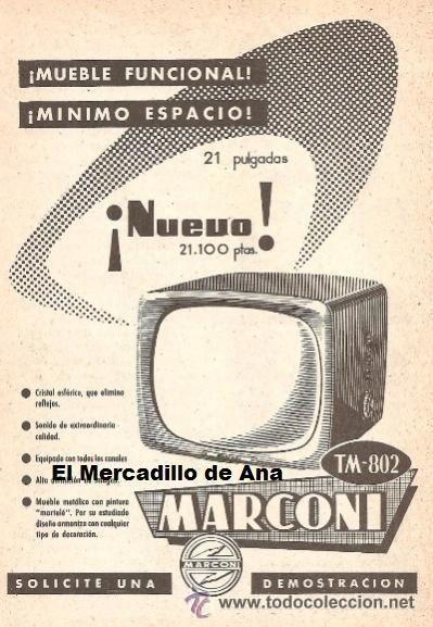 Publicidad marconi televisor anuncio de electrodom sticos - Electrodomesticos retro ...