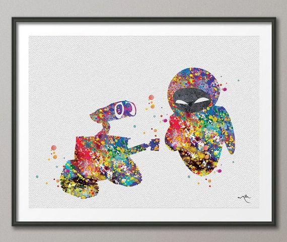 Wall E And Eve Love Movie Watercolor Art Print Wall Art Poster