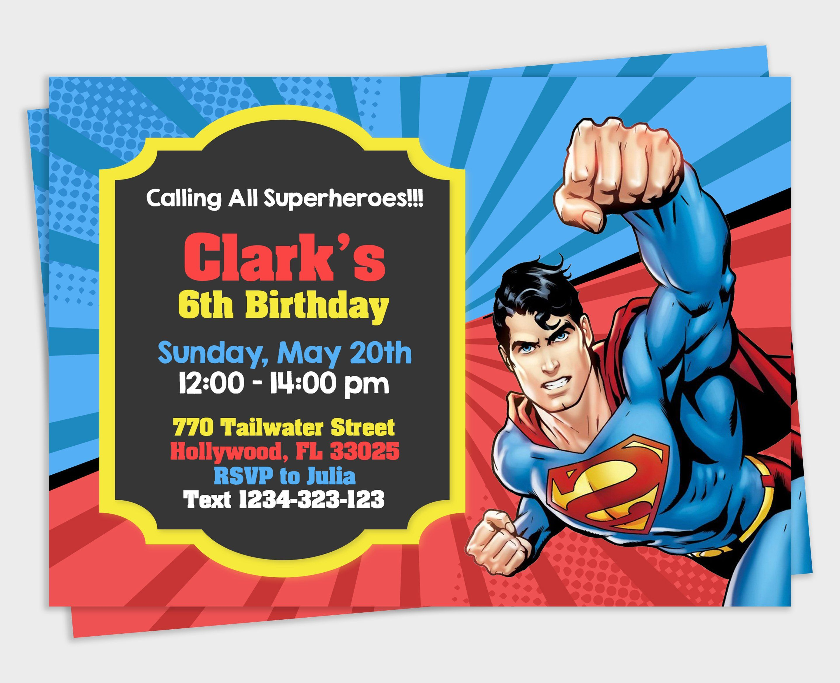Paper Paper & Party Supplies Superman #21 Birthday Party invitation Throughout Superman Birthday Card Template