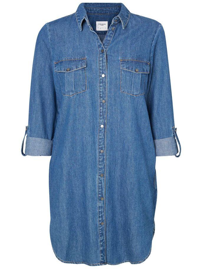 7f3a096d2 Denim kort kjole | casual day | Dresses, Blue jeans, Blue dresses