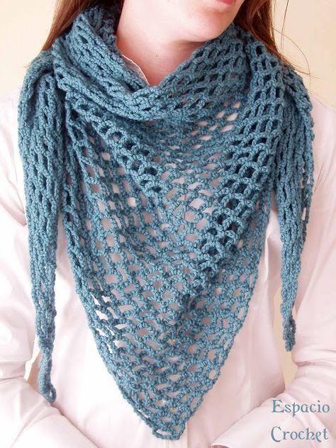 Patrón Espacio Crochet: Chal punto de red | tejidos | Pinterest ...