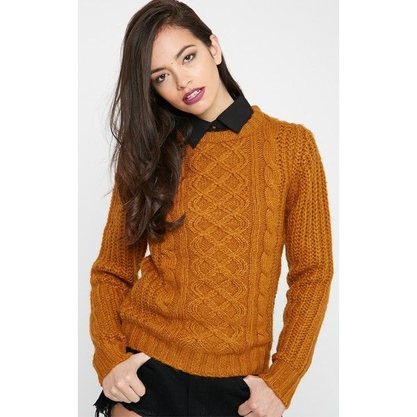 Jayce Mustard Cable Knit Jumper (£7.50) ❤ liked on Polyvore featuring tops 24f485aab4c