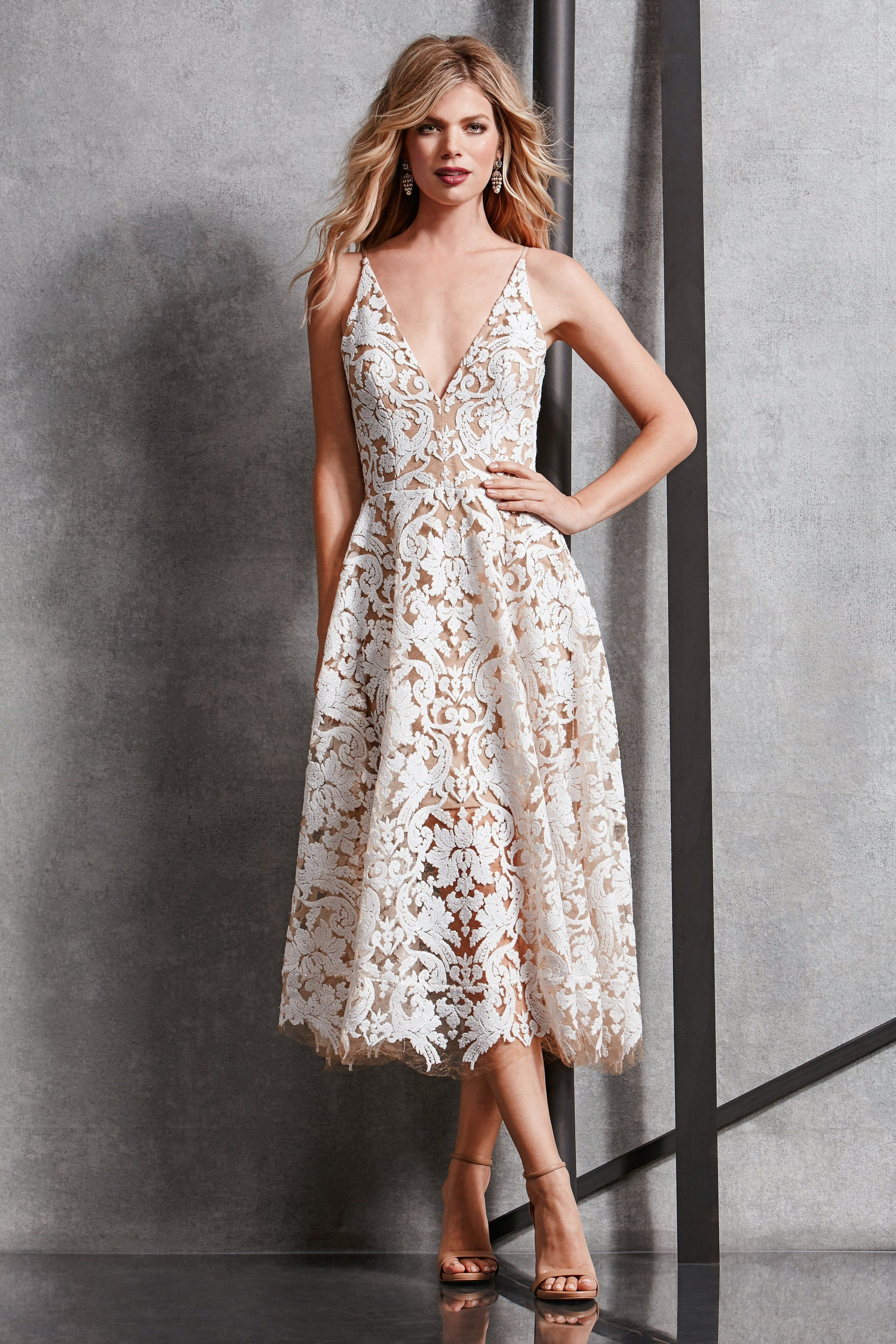 Fit and flare dress wedding  Blair Sequin Lace Fit and Flare Midi Dress  Wedding  Pinterest