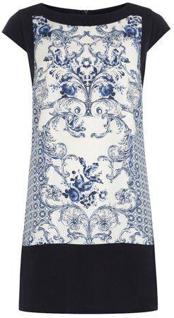 blue and white scarf print china print shift dress