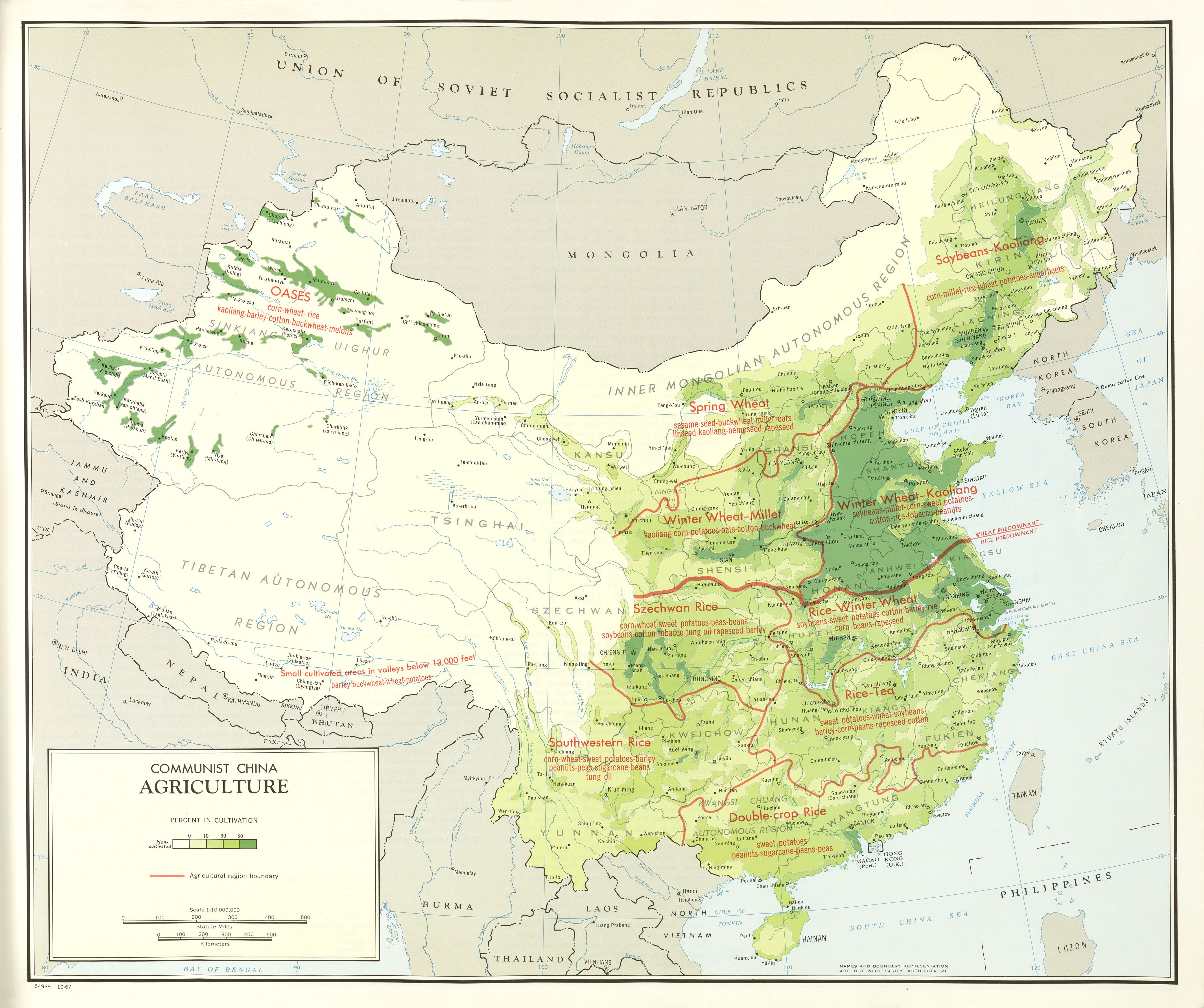 Agricultural Map Of Communist China Map