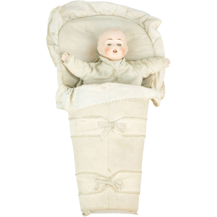 Early 1910s Papier Maché Baby in Bunting Hand Puppet RARE