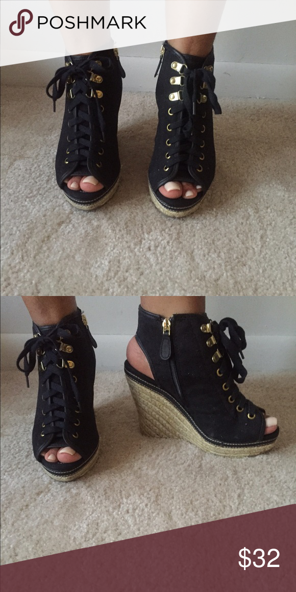 51eb2afa0fd4 Dollhouse wedges Wedged open-toe lace up sandals Dollhouse Shoes Wedges