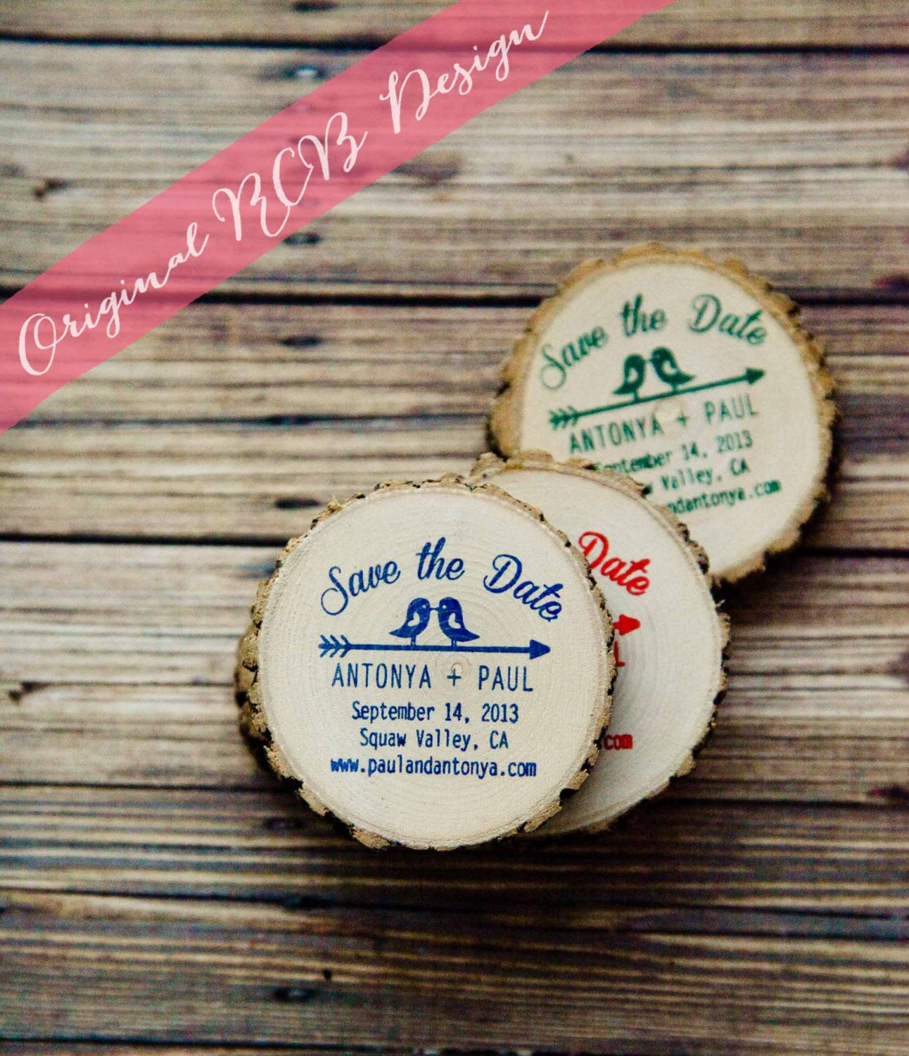 50 Custom Kissing Birds Rustic Save The Date Magnets By